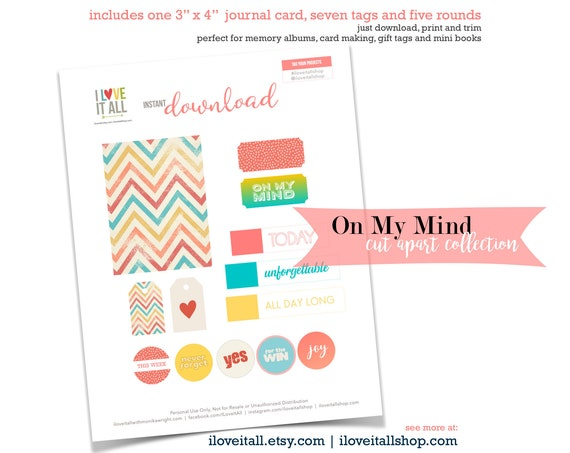 Printable Cards, On My Mind, Scrapbooking, Today Card, Unforgettable, Junk Journaling, Printable Tags, Colorful Labels, Mixed Media Supplies