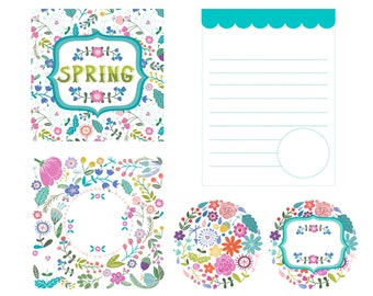 Floral Journaling Cards, Spring Card, Lined Journaling Card, Teal Green Journal Cards, Cardmaking, Pocket Pages, Scrapbooking, Ephemera