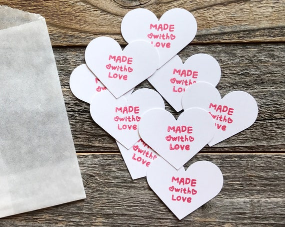 Made with Love, Heart Shapes,  Hand Stamped Hearts, Made with Love Tags, Scrapbook Journaling Spots, Packaging, Card Making, Scrapbooking