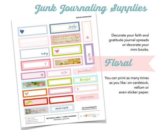 Printable Floral Ephemera Sticker Labels, Junk Journaling Supplies, Vintage Vibe Sticker, Printable Sticker, Rectangle Label Stickers