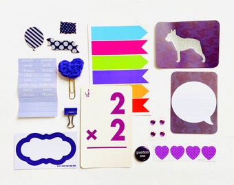 Purple Junk Journaling Ephemera Supplies, Flash Card, Purple Chipboard Paper Crafting Kit, Purple Crochet Heart, Purple Heart Stickers