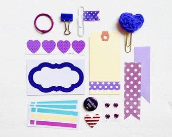 Purple Polka Dots Paper Crafting Kit, Lilac Journaling Ephemera, Purple Crochet Heart Paper Clip, Purple Heart Stickers, Paper Ephemera Kit