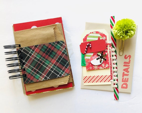 Junk Journal, Christmas Journal, Christmas Scrapbook, Junk Journaling, Mixed Paper Journal, Mixed Media Journal, Mini Book Album, Plaid