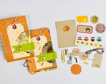 Watercolor Tag, Camera, Mixed Media Journal, Pumpkin, Mini Book, Smashbook, Scrapbooking, Journal Notebook, Fall Memories, Travel Album,