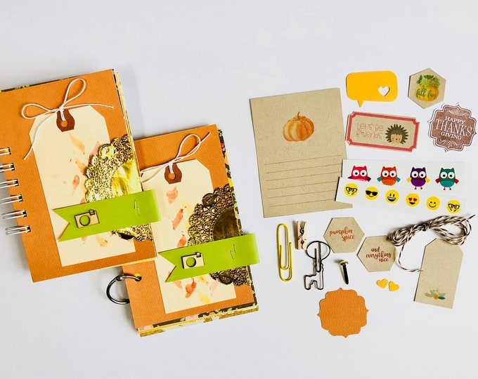 Featured listing image: Watercolor Tag, Camera, Mixed Media Journal, Pumpkin, Mini Book, Smashbook, Scrapbooking, Journal Notebook, Fall Memories, Travel Album,