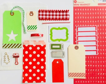 Christmas Kit, Christmas Gift Tags, Christmas Tree Clip, Label Stickers, Red Bulldog Clip, Mini Letter Sticker Sheet, Dymo Label, Gingham
