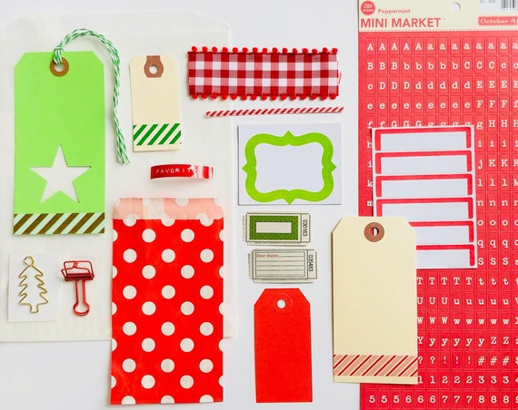 Christmas Embellishment Kit, Christmas Gift Tags, Christmas Tree Clip, Red Label Letter Stickers, Red Bulldog Clip, Junk Journal Kit, Labels