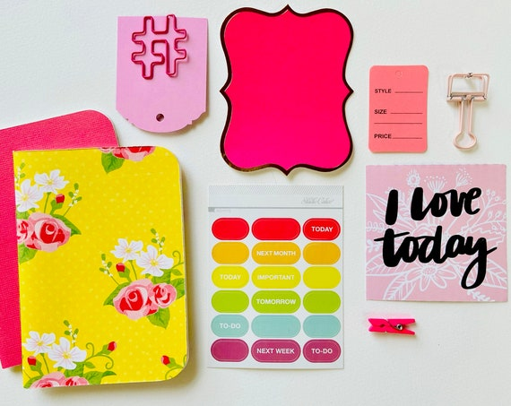 Yellow Floral, Pink Hashtag Clip, Planner Stickers, Pink Bulldog Clip, Passport Size, Midori, TN Inserts, Travelers Notebook, Planner Insert