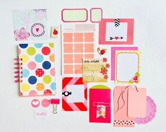 Pink Glitter + Gold Stars, Pink Mini Book Junk Journal, Mixed Media Journal, Mixed Paper Junk Journal and Craft Kit, Pink Creative Journal