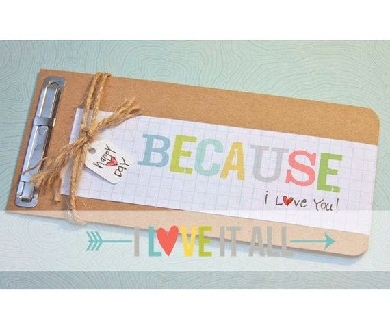 Romantic Birthday Gift, Because I Love You, Coupon Book, Gift for Husband, Boyfriend Gift, Birthday Card, Paper Anniversary, Deployment Gift