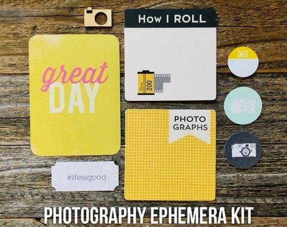 Photography Ephemera Kit, Great Day, Life Is Good, Camera, How I Roll, Film Roll, Wood Veneer Camera, Embellishments, Junk Journal Supply