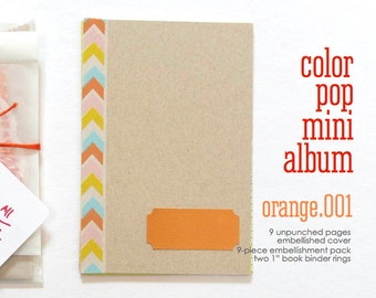 Mini Paper Kit Orange Color Pop DIY KIT Mini Album Book Notebook Daybook . Mixed Media Smash Art List Journal Travel Trip Scrapbook Album