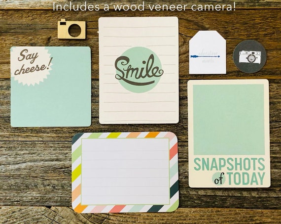 Camara Ephemera Kit, Photography, Smile, Say Cheese, Snapshots, Wood Veneer Camera, Embellishments, Junk Journal Supply, Mini Album Kit