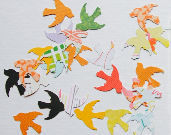 Bird Paper Confetti, Bird Shapes, Paper Die Cuts, Confetti, Swallows, Birds, Paper Ephemera, Bird Shapes, Paper Birds, Wedding Confetti