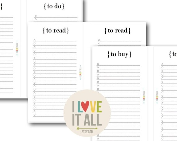 To Do List, Set of 3, Filofax Personal Printable Planner Pages, To Read To Buy, Download, Note Paper, Planning Lists, Filofax Printable