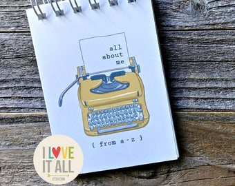 All About Me, Journal Notebook, Right Now, Currently, Thoughts Dreams Goals, Mindfulness Journal, Self Love , Graduation Gift, Typewriter