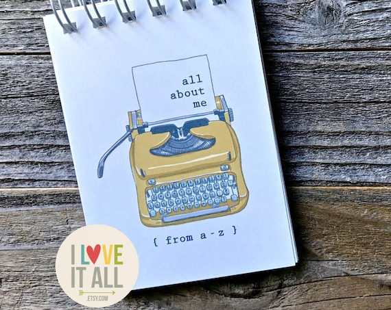 All About Me, My Right Now, Currently, My Story, Mindfulness Journal, Self Care, Graduation Gift, Typewriter, My Story Journal, Journal
