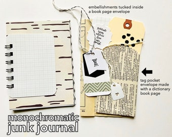 Grey and White Journal, Monochromatic Mini Book, Tone on Tone, Junk Journal, GrayToned Mini Book, Mixed Media Journal, Junk Journal