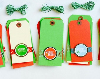 Christmas Tags, Set of 5, Holiday Gift Tag, Packaging, Merry + Bright, Jingle Bells, Merry Christmas, Red Tag, Green Tag, Gift Tags, Label