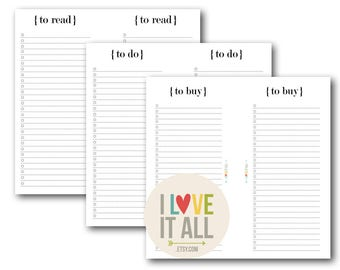To Do List, Midori Printable Planner Pages, Minimalist Black and White, To Do, To Buy, To Read, Midori Insert, Travelers Notebook Insert