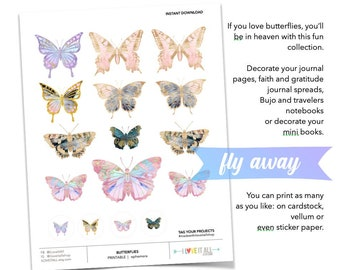 Pink and Purple Butterfly Ephemera Sticker Collection, Junk Journaling Supplies, Printable Clip Art, Printable Butterflies, Purple and Blue