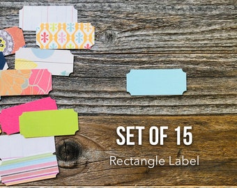 Rectangel Label, Tag Die Cuts, Paper Die Cuts, Set of 15 Labels, Scrapbooking, Paper Ephemera, Label Shapes, Tags, Rectangle Die Cut Shapes