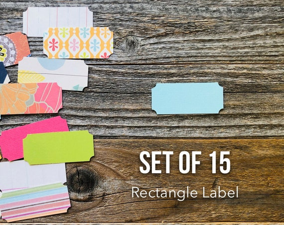 Ticket Label, Rectangel Label, Tag Die Cuts, Paper Die Cuts, Set of 15 Labels, Scrapbooking, Paper Ephemera, Label Shapes, Tags, Rectangle