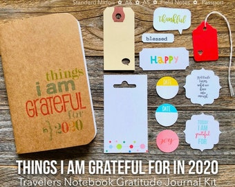 2020 Gratitude Journal, Things I Am Grateful For, I Am Grateful, Mindfulness Diary, Travelers Notebook, Midori Insert, Grateful Thankfulness