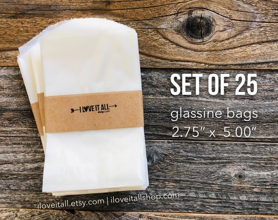 Flat Glassine Bags, Merchandise Bag, Treat Bags, Candy Buffet, Treat Sacks, Wedding Reception Favor, Small Bag, Translucent Bag, Frosted Bag