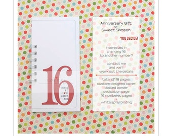 Sweet Sixteen Birthday Card, 16 Things We Love About You, Wedding Anniversary. Coupon Book Mini Album, Teenager, Card for Teens, Birthday