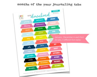 Printable Monthly Journal Tabs, Monthly Divider Tabs, Colorful Calendar Tabs, Monthly Tabs, Planner Supplies, Month Planner Tabs, Month Tabs
