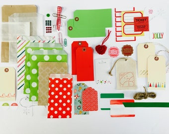 Christmas Embellishment Kit, Holly Jolly Christmas, Shipping Tags, Gift Bags, Santa, Gift Packaging, Scrapbooking, Art Journaling, Planner