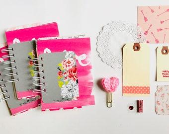 Valentine gift, Love Junk Journal, Pink Mixed Media Journal, Mini Book, Smashbook, Scrapbooking, Floral Hearts Camera Cloud Washi Tape
