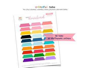 Printable Journal Tabs, Colorful Divider Tabs, Calendar Tabs, Journal Tabs Download, Planner Supplies, Planner Tabs, Printable Calender Tabs