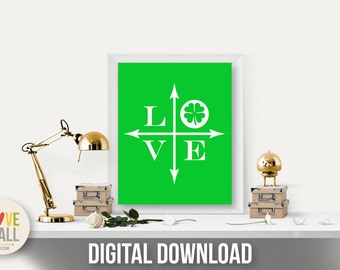 Love Shamrock Art Print Poster . Instant Digital Download
