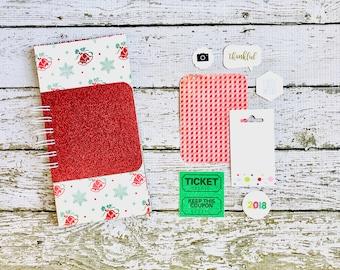 Glitter Christmas Junk Journal, Santa, Gingham, Snowflakes, Peppermint, Mixed Media Journal, Mini Book, December Daily, Christmas Book