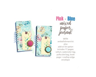 Pink and Blue Floral Journal, Mixed Media Journal, Mini Book, Smashbook, Scrapbooking, Notebook, Listing Journal, Mini Album for Lists