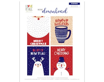 Santa Gift Tag, Merry Christmas Gift Tags, Nordic Design, Snowman, Santa Card, Hot Cocoa Mug, Reindeer Card, Happy Holidays, Happy New Year