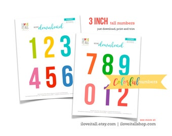 Printable Numbers, Colorful Number Die Cuts, Cut Out Ephemera, Colored Numbers, Card Making, Numbers, 3 Inch Numbers, Instant Download