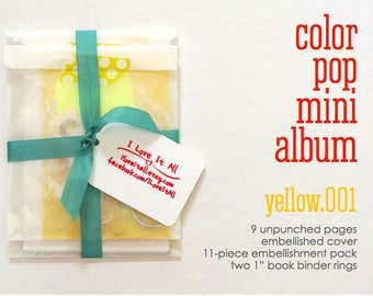Yellow Color Pop Mini Album, Book Notebook Daybook, DIY Crafting Kit, Mixed Media Paper Kit, Papercrafting, Junk Journal Kit, Paper Ephemera