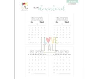 No Spend Tracker Journaling Cards, Tracker Insert, No Spend Month, Journal Cards, Budget, Budgeting, Planner Supplies, Planner, Goal Tracker