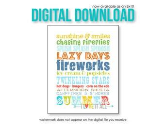 Printable Summer Art, Summer Rules Subway Art, Wall Decor, Vacation Home Art, Summer Bucket List, Fireworks, Summer Art, Fireflies, Sunshine