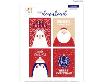 Merry Christmas Gift Tags, Nordic Design, Bear Card, Santa Journaling Cards, Ornament Journaling Card, Journal Cards, Christmas Gift Tag
