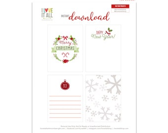 Merry Christmas, Christmas Gift Tags, Happy New Year, Candy Cane, Snowflake Card, Christmas Wreath, Journaling Cards, Mistletoe Journal Card