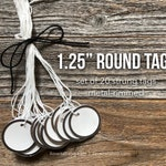 "Round Tags, 1.25"" Metal Rimmed Tags, 1.25"" Round Tags, One and 1/2 Inch Metal Rimmed Tags, Paper Tags with Metal Rim, Small Round Gift Tags"