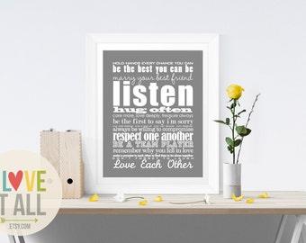 Marriage Wedding Anniversary Poster Art Print Oversized Home Decor Poster . Modern Romantic Romance Love Subway . Graphic Typography