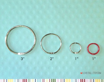 "Washi Storage Ring, 2 Inch, Snap Rings, Book Binder Rings, Silver Metal, Ring Hinges, 2"", 3"", 1"" Round Ring, Washi Tape Holder, Split Rings"