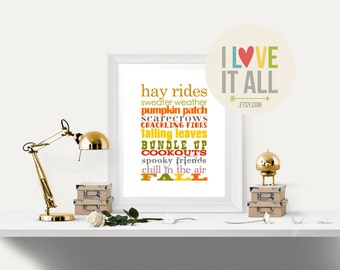 Sweater Weather Wall Art, Autumn, Falling Leaves, Hay Rides, Pumpkin Patch, Download, Printable Fall Art, Seasonal Home Decor, Thanksgiving