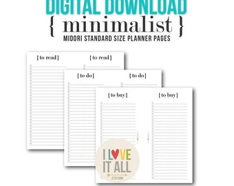 Midori Printable Planner Pages . Minimalist Black and White, To Do, To Buy, To Read, Tn Insert Lists, Travelers Notebook Insert Download