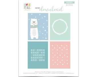 Woodland Cards, Christmas Gift Tags, Heart Card, Bear Journaling Card, Ho Ho Ho, Woodland Wreath, Pocket Card, Planner Supplies
